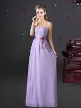 Sweetheart Sleeveless Chiffon Dama Dress for Quinceanera Lace and Appliques and Belt Lace Up