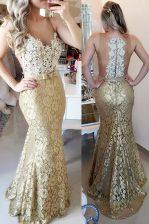 Mermaid Gold Zipper Spaghetti Straps Lace and Belt Prom Dress Lace Sleeveless Brush Train