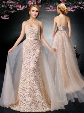 Peach Strapless Neckline Lace and Belt Prom Party Dress Sleeveless Lace Up