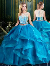 Pretty With Train Baby Blue Sweet 16 Dresses Scoop Sleeveless Brush Train Zipper