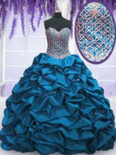 Sequins Pick Ups Floor Length Ball Gowns Sleeveless Blue Sweet 16 Quinceanera Dress Lace Up