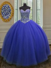 Royal Blue Sweetheart Neckline Beading Sweet 16 Quinceanera Dress Sleeveless Lace Up