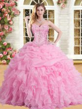 Rose Pink Tulle Lace Up Sweetheart Sleeveless Floor Length Quinceanera Dresses Appliques and Ruffles and Pick Ups