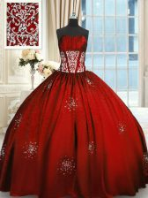 Wine Red Taffeta Lace Up Sweet 16 Dresses Sleeveless Floor Length Beading and Appliques and Ruching
