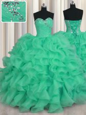 Stylish Sleeveless Organza Floor Length Lace Up Ball Gown Prom Dress in Turquoise with Beading and Ruffles