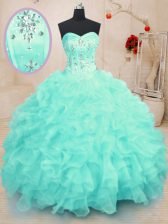 Gorgeous Turquoise Sweetheart Neckline Beading and Ruffles Quince Ball Gowns Sleeveless Lace Up