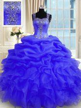 Purple Sleeveless Beading and Ruffles Floor Length 15th Birthday Dress