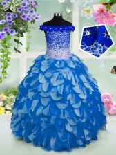 Off The Shoulder Short Sleeves Organza Little Girl Pageant Gowns Beading and Sashes ribbons and Sequins Lace Up