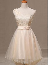 One Shoulder Champagne Lace Up Prom Gown Lace and Pleated and Hand Made Flower Sleeveless Knee Length