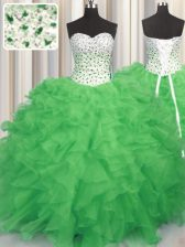 Graceful Sweet 16 Dresses Military Ball and Sweet 16 and Quinceanera with Beading and Ruffles Sweetheart Sleeveless Lace Up