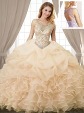 Customized Scoop Champagne Organza Lace Up Sweet 16 Dresses Sleeveless Floor Length Beading and Ruffles and Pick Ups