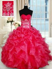 Spectacular Red Sleeveless Floor Length Beading and Ruffles Lace Up Quinceanera Gown