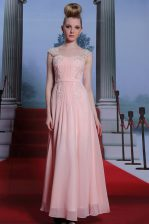 Best Selling Floor Length Side Zipper Prom Party Dress Baby Pink for Prom and Party with Beading