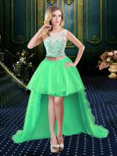 A-line Prom Dresses Scoop Organza Sleeveless High Low Clasp Handle