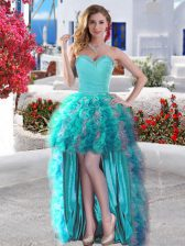 Sleeveless Lace Up High Low Beading and Ruffles Homecoming Dress