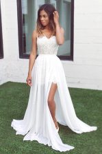 Ideal Sweep Train A-line Prom Party Dress White V-neck Chiffon Sleeveless Zipper