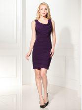 Scoop Purple Sleeveless Ruffles Mini Length Prom Dresses