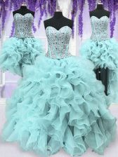 Four Piece Light Blue Sleeveless Floor Length Ruffles and Sequins Lace Up Vestidos de Quinceanera