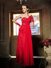 Red Sweetheart Neckline Beading and Ruching Homecoming Dress Sleeveless Lace Up