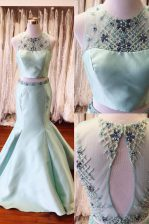 Mermaid Scoop Satin Sleeveless Floor Length Prom Party Dress and Beading and Sashes ribbons