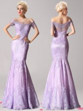 Most Popular Mermaid Lavender Prom Dresses Prom with Beading and Lace Off The Shoulder Short Sleeves Zipper