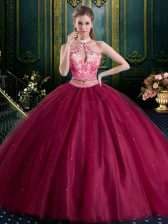 Halter Top Sleeveless Floor Length Beading and Lace and Appliques Lace Up Quinceanera Dress with Burgundy