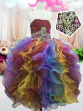 Multi-color Little Girls Pageant Dress Party and Wedding Party with Beading and Ruffles Strapless Sleeveless Zipper