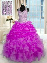 Organza and Taffeta Sleeveless Floor Length Ball Gown Prom Dress and Beading and Ruffles and Pick Ups