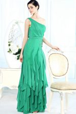 Simple Green One Shoulder Side Zipper Appliques Prom Evening Gown Sleeveless