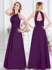 Halter Top Purple Empire Ruching Quinceanera Court Dresses Zipper Chiffon Sleeveless Floor Length