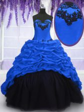 Sophisticated Royal Blue Ball Gowns Taffeta Sweetheart Sleeveless Appliques and Pick Ups With Train Lace Up Quinceanera Dress Sweep Train