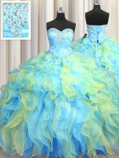 Floor Length Ball Gowns Sleeveless Multi-color Sweet 16 Quinceanera Dress Lace Up