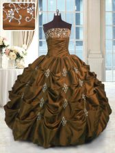 Classical Sleeveless Floor Length Beading and Pick Ups Lace Up Sweet 16 Dress with Brown