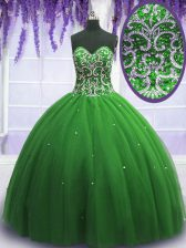 Fine Ball Gowns 15th Birthday Dress Green Sweetheart Tulle Sleeveless Floor Length Lace Up