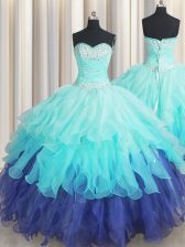 Flare Multi-color Sleeveless Floor Length Beading and Ruffles and Ruffled Layers and Sequins Lace Up Sweet 16 Dresses