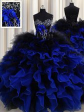 Blue And Black Organza and Tulle Lace Up Sweetheart Sleeveless Floor Length Quinceanera Gown Beading and Ruffles