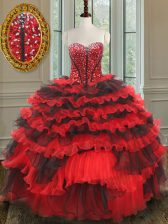 Suitable Sweetheart Sleeveless Lace Up Ball Gown Prom Dress Red And Black Organza
