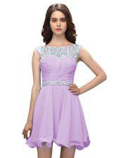Fashion Lavender Column/Sheath Scoop Sleeveless Chiffon Mini Length Zipper Beading Prom Party Dress