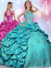 Comfortable Halter Top Sleeveless Floor Length Beading and Lace and Appliques and Pick Ups Lace Up Quinceanera Gown with Teal