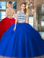 Scoop Backless Floor Length Royal Blue 15th Birthday Dress Tulle Sleeveless Beading and Pick Ups