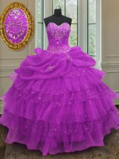 Wonderful Halter Top Purple Lace Up Quinceanera Gowns Beading and Ruffled Layers and Pick Ups Sleeveless Floor Length
