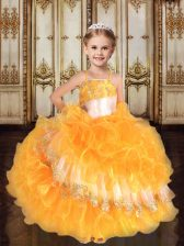 Customized Gold Spaghetti Straps Lace Up Ruffles Little Girls Pageant Gowns Sleeveless
