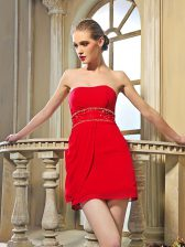 Red Dress for Prom Prom and Party with Beading Strapless Sleeveless Lace Up