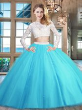 Scoop Long Sleeves 15th Birthday Dress Floor Length Beading and Lace Baby Blue Tulle