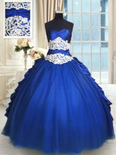 Deluxe Royal Blue Sweetheart Lace Up Beading and Lace and Appliques and Ruffles and Pick Ups Sweet 16 Quinceanera Dress Sleeveless