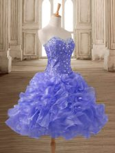 Vintage Lavender A-line Beading and Ruffles Prom Evening Gown Lace Up Organza Sleeveless Mini Length