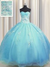 Colorful Zipper Up Sweetheart Sleeveless Quinceanera Dresses Floor Length Beading and Appliques Baby Blue Organza