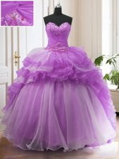 Purple Lace Up Sweetheart Beading and Ruffled Layers Ball Gown Prom Dress Organza Sleeveless Sweep Train