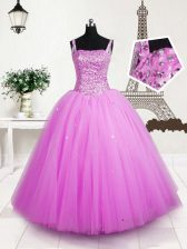 Rose Pink Little Girls Pageant Gowns Party and Wedding Party with Beading and Sequins Straps Sleeveless Lace Up