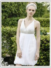 Elegant V-neck Sleeveless Prom Gown Knee Length Ruching White Chiffon